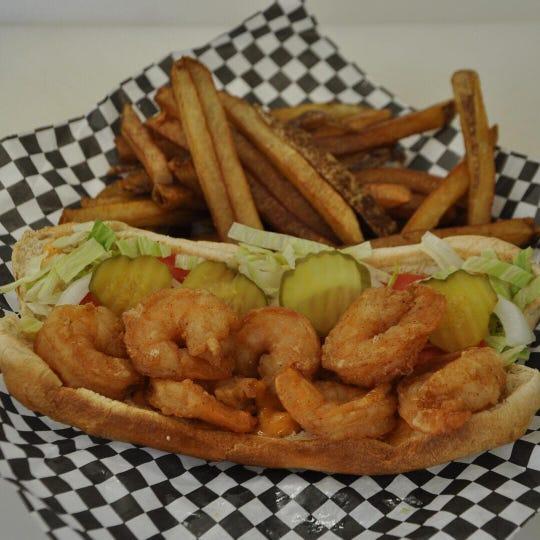 Garcon Du Bayou's shrimp po-boy