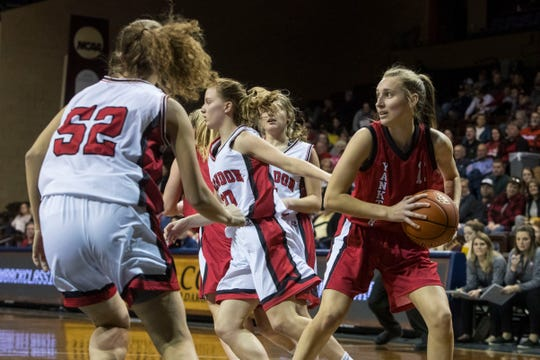 Yankton's Madison Wuebben (13) looks to pass the ball during a game against Brandon Valley at the Sanford Pentagon in Sioux Falls, S.D., Thursday, Dec. 13, 2018.