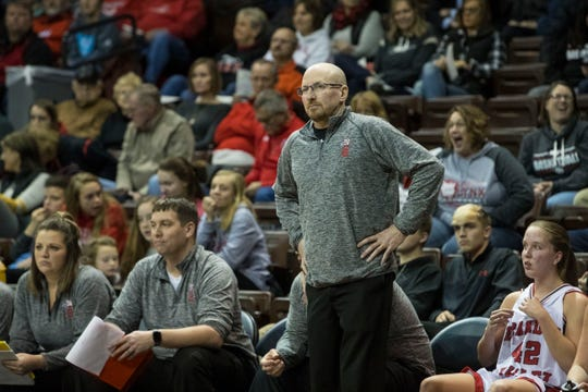 Mark Stadem, Brandon Valley girls coach, watches the game against Yankton at the Sanford Pentagon in Sioux Falls, S.D., Thursday, Dec. 13, 2018.