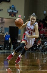 Brandon Valley's Trinity Law (44) dribbles the ball during a game against Yankton at the Sanford Pentagon in Sioux Falls, S.D., Thursday, Dec. 13, 2018.
