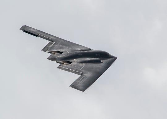 A B-2 bomber flies over Whiteman Airforce Base near Knob Noster, Missouri.