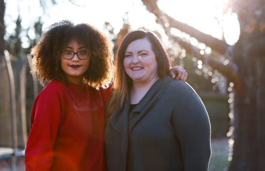 Racheal Hunt (right) and her adopted daughter Xana Hunt. They are only eight years apart but Racheal and her husband adopted Xana earlier this year.