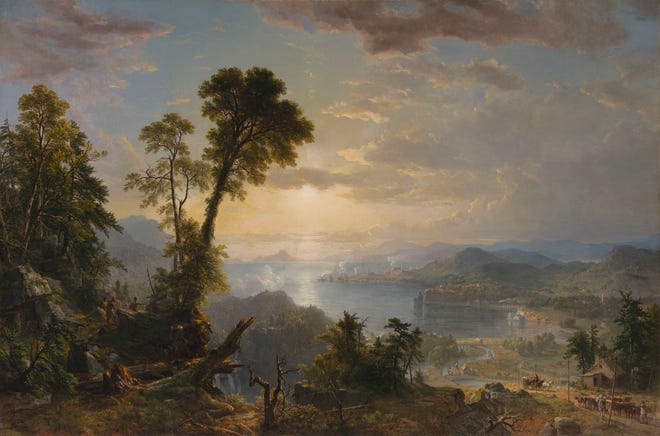 """This image provided by the Virginia Museum of Fine Arts shows the painting """"Progress (The Advance of Civilization)"""" that was painted in 1853 by Hudson River School member Asher B. Durand."""
