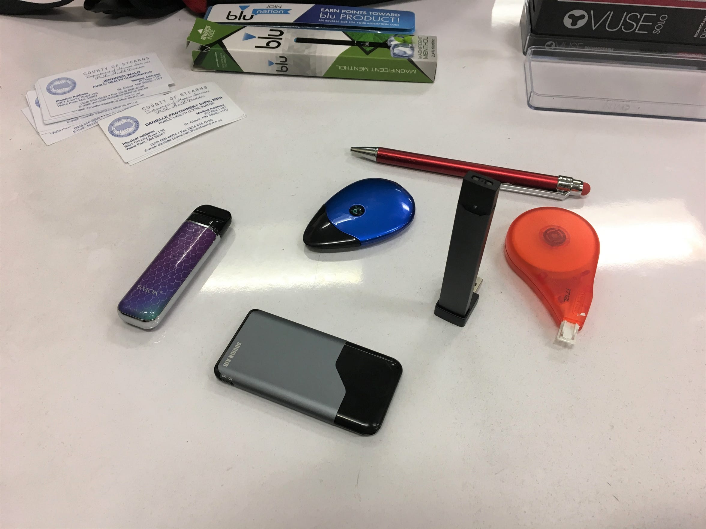 Many e-cigarettes (vaping devices) are manufactured for disguise — whether it be as a pen, smartphone, whiteout or a WiFi port. This poses a unique challenge to teachers and staff to recognize them.