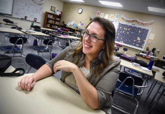 Carrie Schmitz smiles while talking about her work in her classroom Thursday, Dec. 13, in Albany. Schmitz was named the 2018 Teacher of the Year by the Minnesota Middle School Association.