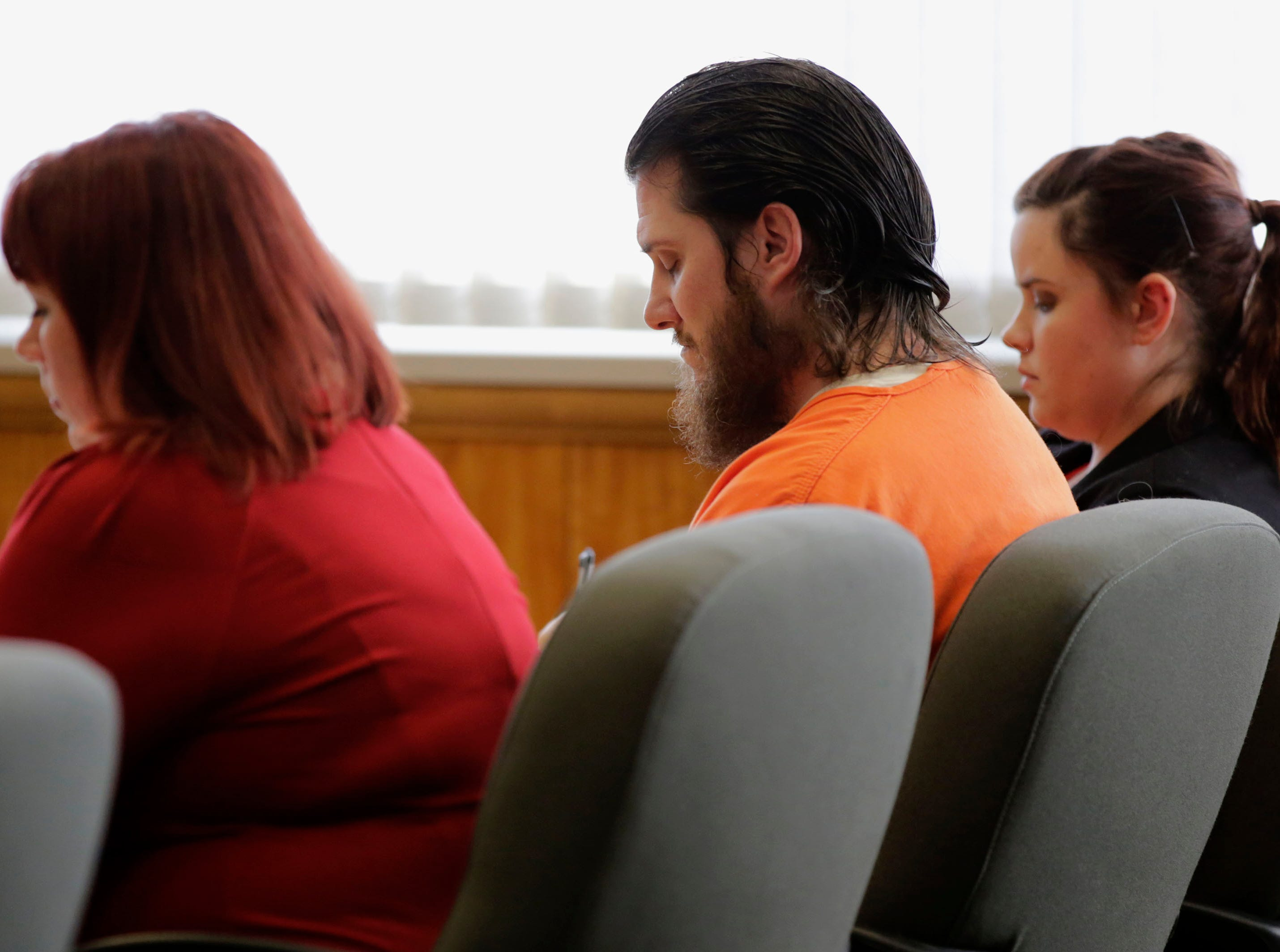 James Georgeson sits at the defense table during a sentencing hearing on Friday, December 14, 2018, at the Wood County courthouse in Wisconsin Rapids, Wis. Georgeson was convicted of second-degree reckless homicide for the death of his infant son, and was sentenced to 15 years confinement with an additional 10 years of extended supervision.Tork Mason/USA TODAY NETWORK-Wisconsin