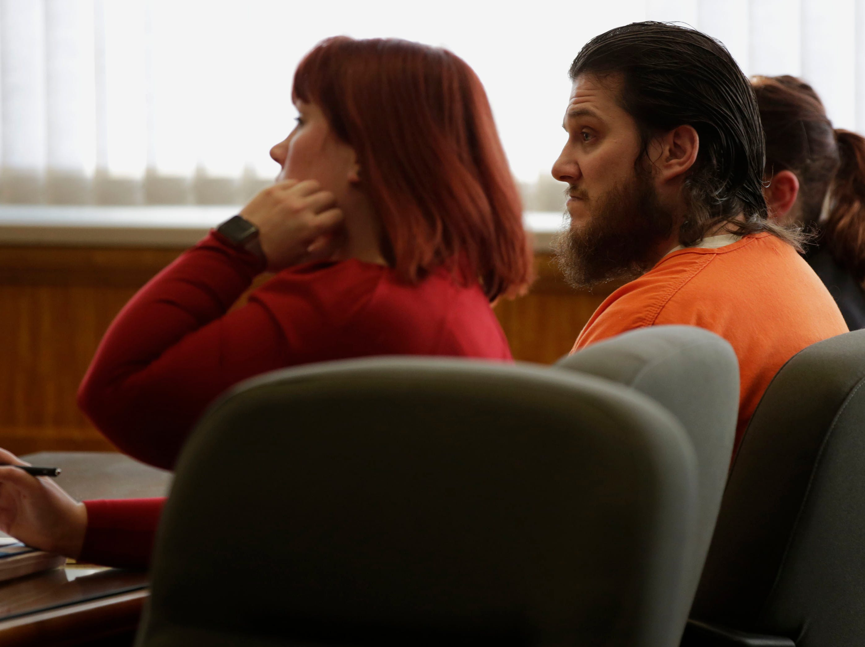 James Georgeson listens to a victim impact statement during a sentencing hearing on Friday, December 14, 2018, at the Wood County courthouse in Wisconsin Rapids, Wis. Georgeson was convicted of second-degree reckless homicide for the death of his infant son, and was sentenced to 15 years confinement with an additional 10 years of extended supervision.Tork Mason/USA TODAY NETWORK-Wisconsin