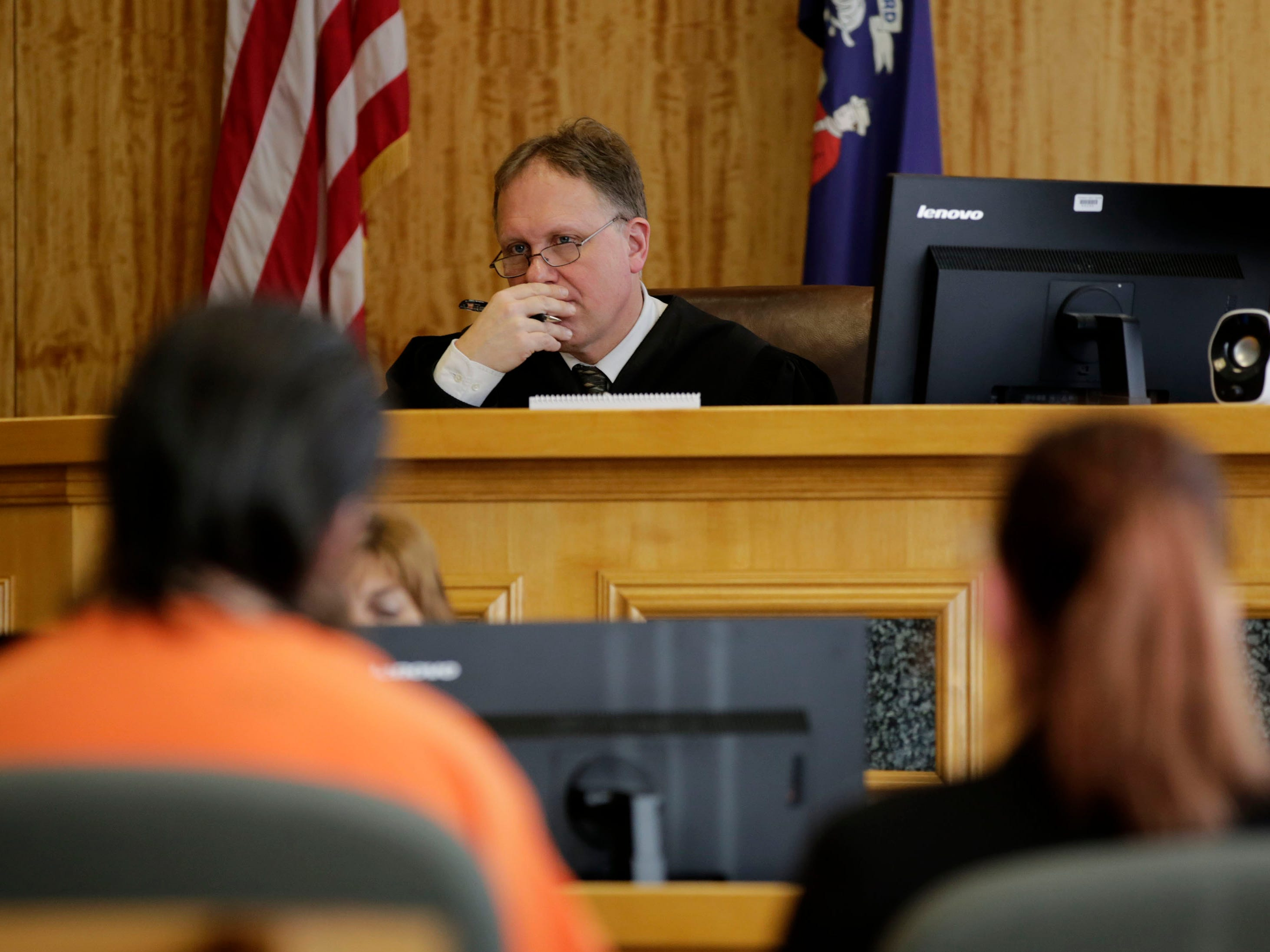 Circuit Court Judge Todd Wolf listens to testimony during a sentencing hearing for James Georgeson on Friday, December 14, 2018, at the Wood County courthouse in Wisconsin Rapids, Wis.Tork Mason/USA TODAY NETWORK-Wisconsin