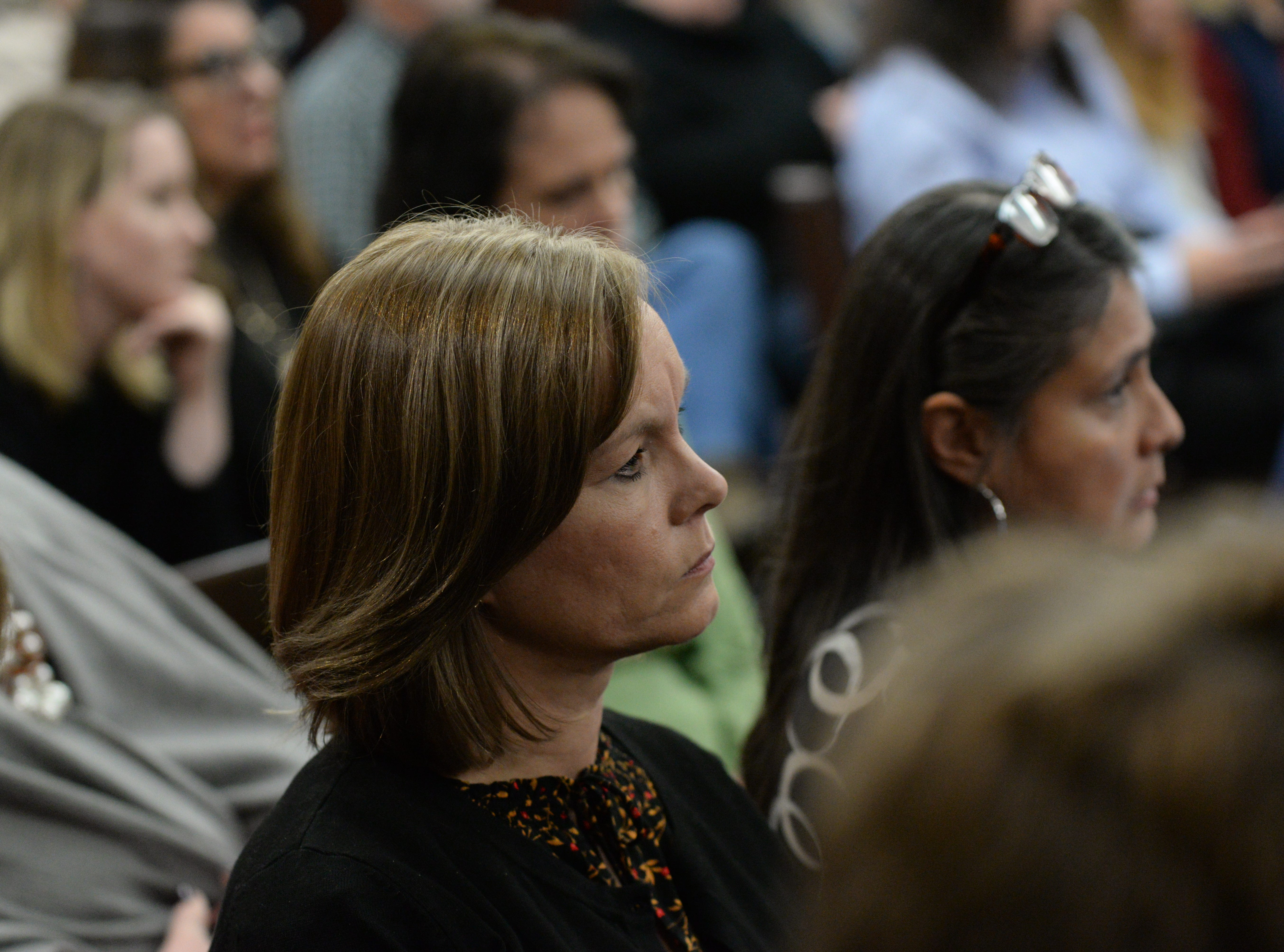 Kathy Thomas, ex-wife of Brian Winchester, listens as Denise Williams' attorney Ethan Way gives his closing arguments during the trial of Denise Williams for the murder of her husband Mike Williams at the Leon County Courthouse Friday, Dec. 14, 2018.