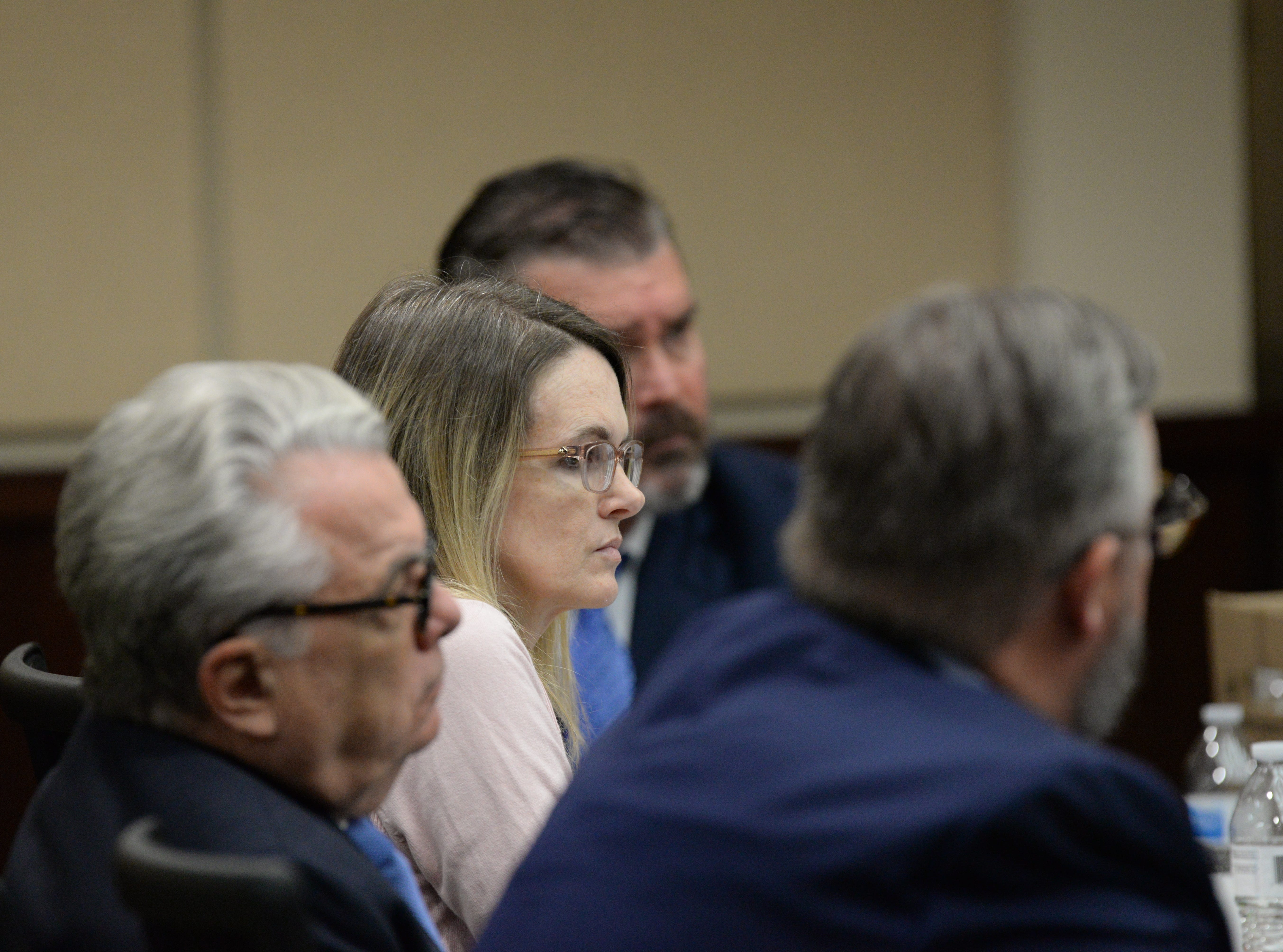 Denise Williams listens as Assistant State Attorney Jon Fuchs gives his rebuttal in closing arguments during the trial of Denise Williams for the murder of her husband Mike Williams at the Leon County Courthouse Friday, Dec. 14, 2018.