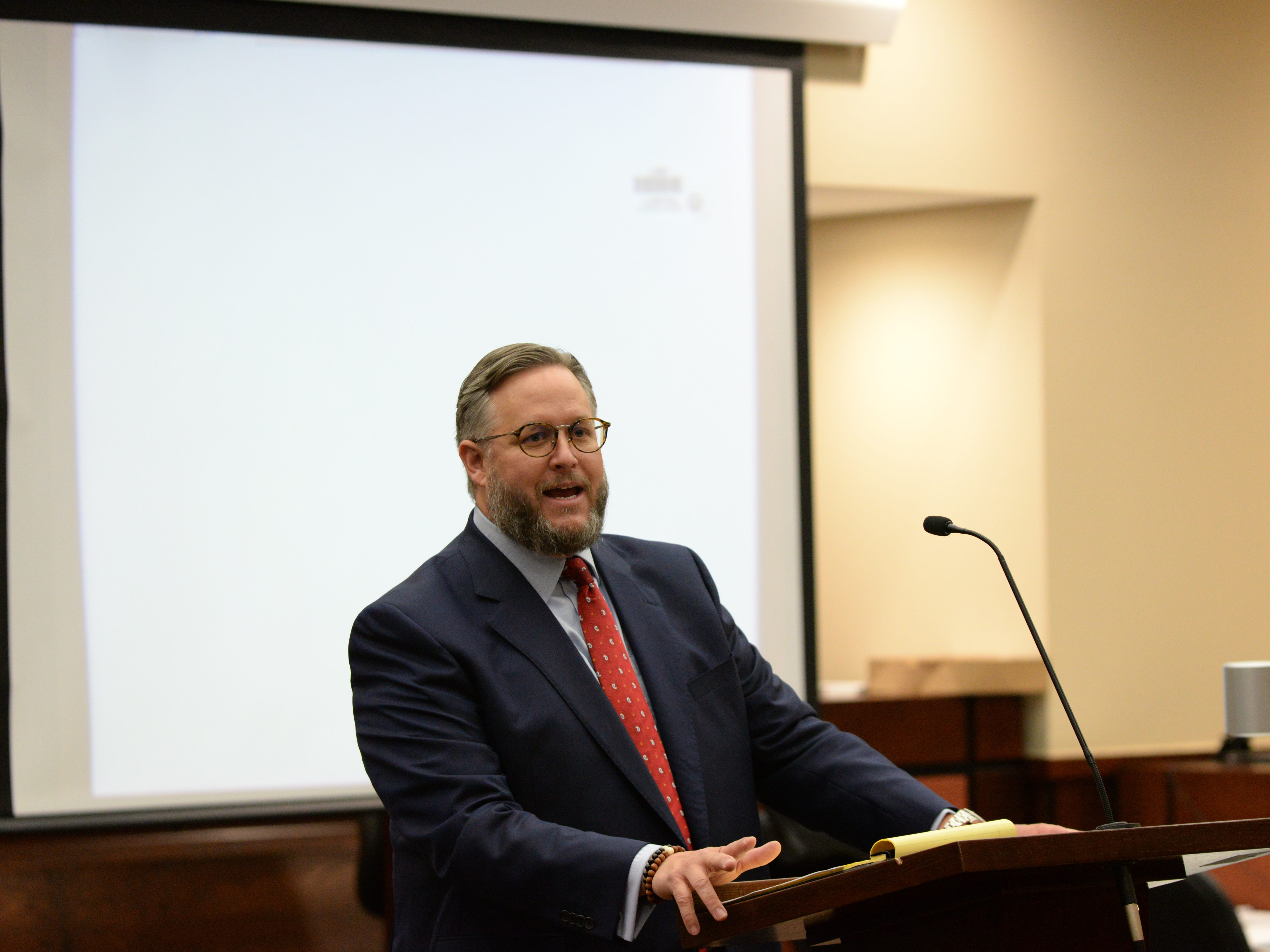 Attorney for Denise Williams Ethan Way gives his closing arguments during the trial of Denise Williams for the murder of her husband Mike Williams at the Leon County Courthouse Friday, Dec. 14, 2018.