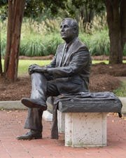 A statue of former Florida State University President T.K. Wetherell, unveiled in January 2010, sits on the southside of  Westcott Plaza.