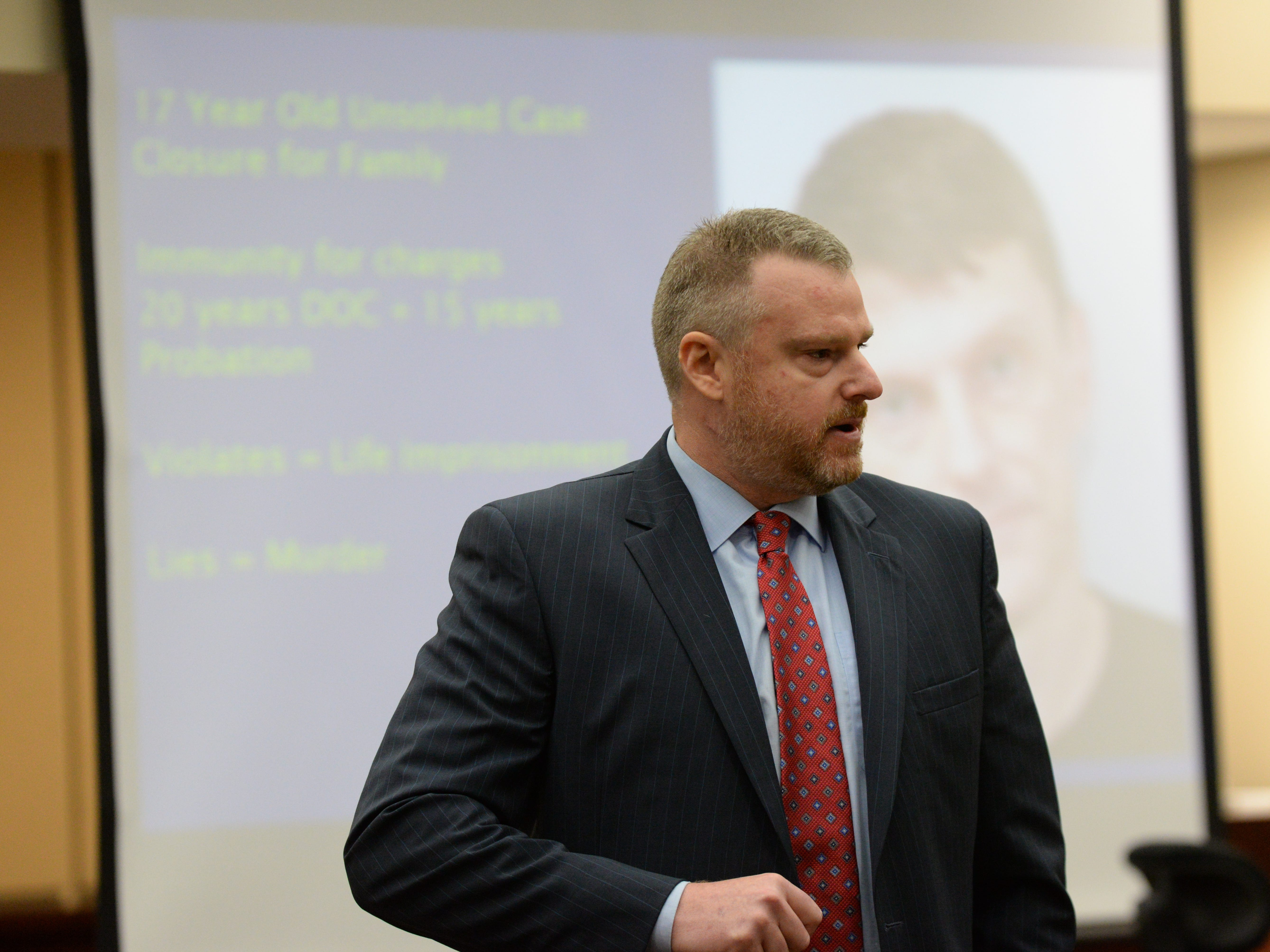 Assistant State Attorney Jon Fuchs gives his rebuttal in closing arguments during the trial of Denise Williams for the murder of her husband Mike Williams at the Leon County Courthouse Friday, Dec. 14, 2018.