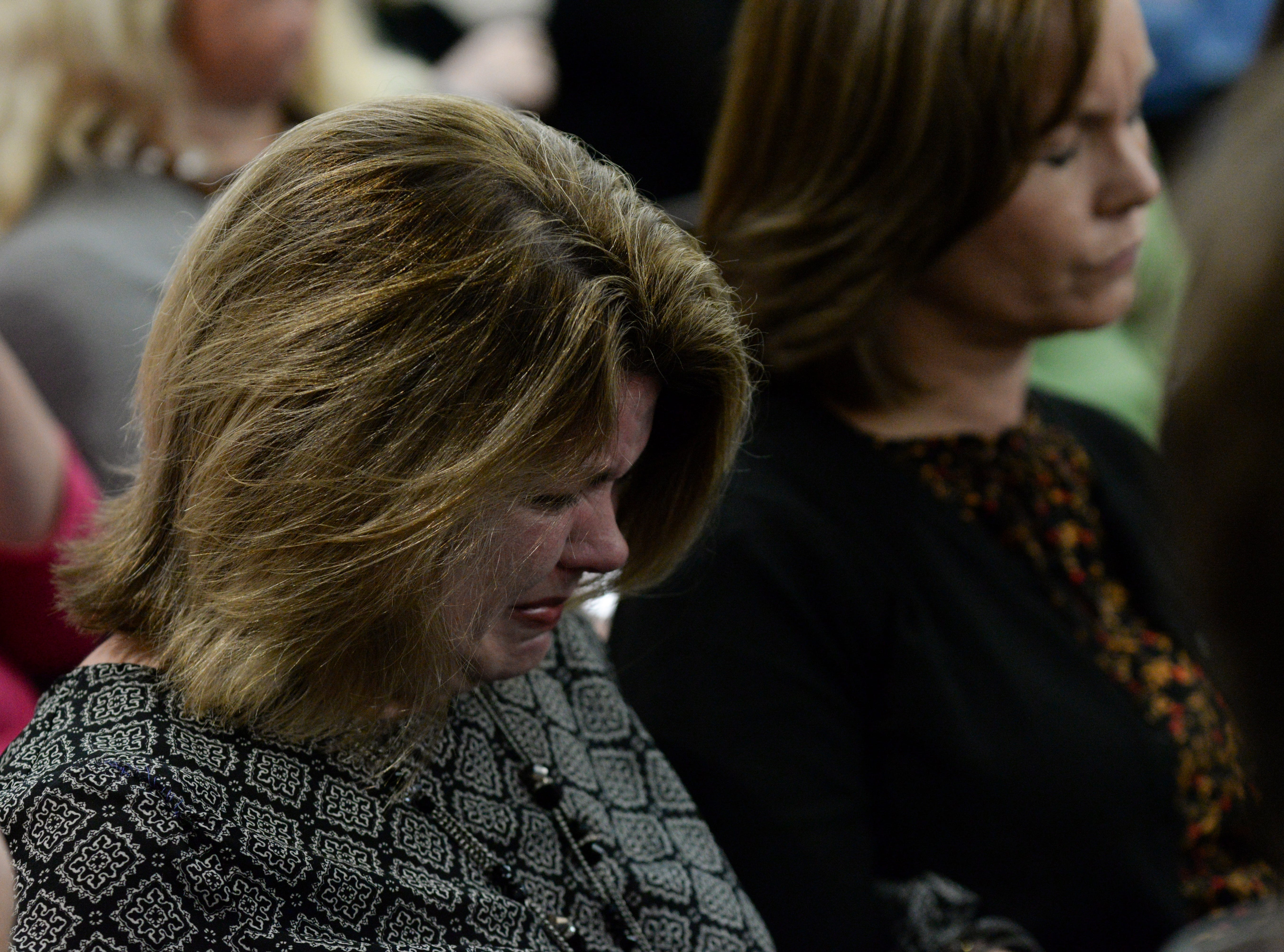 Lindsay Lockhart cries as Assistant State Attorney Jon Fuchs finishes his rebuttal in closing arguments during the trial of Denise Williams for the murder of her husband Mike Williams at the Leon County Courthouse Friday, Dec. 14, 2018.