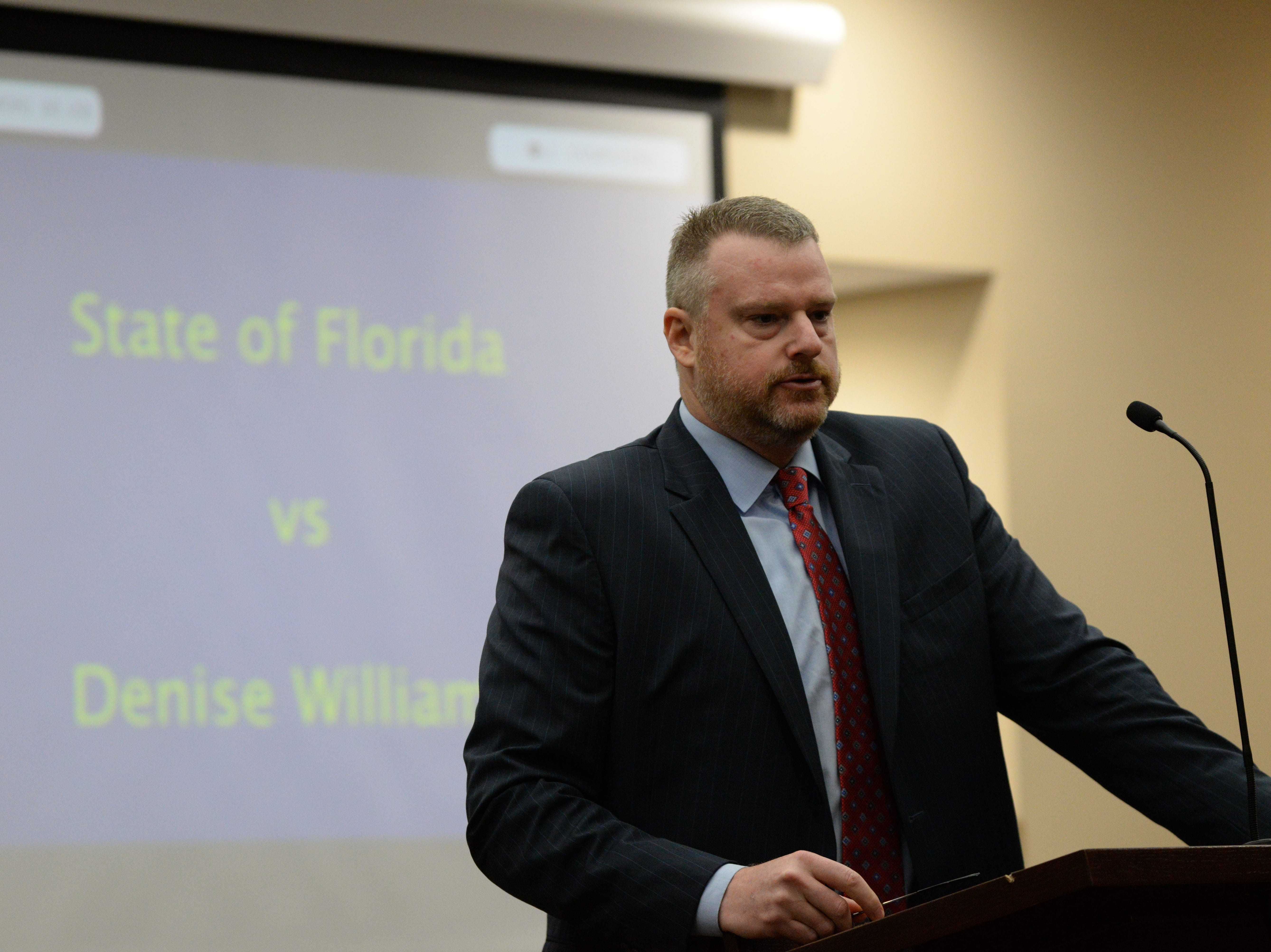 Assistant State Attorney Jon Fuchs begins his closing arguments during the trial of Denise Williams for the murder of her husband Mike Williams at the Leon County Courthouse Friday, Dec. 14, 2018.