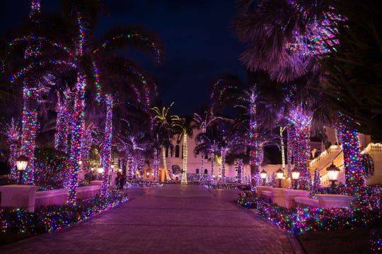 Drive by or walk around the outside of the decorated 50,000-square-foot Jensen Beach mansion at 4545 N.E. Ocean Blvd., about a half mile north of the Jensen Beach Causeway, on South Hutchinson Island. The lights glow from sunset — about 5:30 p.m. — until about 11 p.m. nightly.