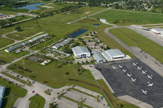 Aerial picit of the campus of Aviator College of Aeronautical Science & Technology at Treasure Coast International Airport in Fort Pierce.