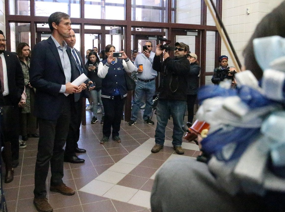 U.S. Rep. Beto O'Rourke, D-El Paso, arrives at Chapin High School for his December town hall in El Paso.