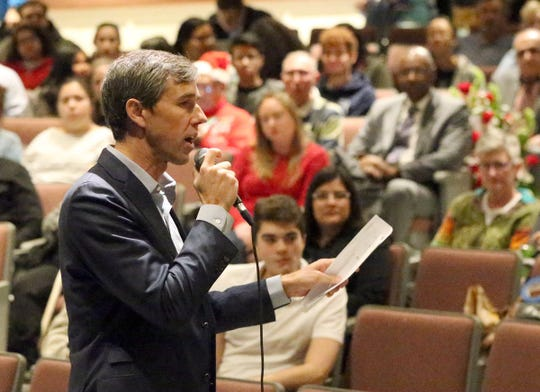 U.S. Rep. Beto O'Rourke speaks Friday during his town hall meeting at Chapin High School in Northeast El Paso.