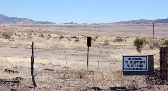 This Jan. 20, 2012, file photo, near Cloverdale in New Mexico's Bootheel region, shows a gated part of the Diamond A Ranch and is 77 miles south of Lordsburg, N.M., the nearest U.S. Border Patrol station. A 7-year-old Guatemalan girl, picked up with her father and dozens of other migrants along the remote stretch of the U.S.-Mexico border, has died, federal officials said Friday.