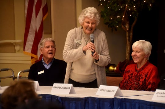 "University Village resident Peggy Perry speaks to the audience during a celebration for residents of University Village Thousand Oaks. Virginia Gean, a senior lecturer in accounting and finance at the California Lutheran University School of Management, compiled stories of residents and turned them into a book, ""A Village of Knowledge."""