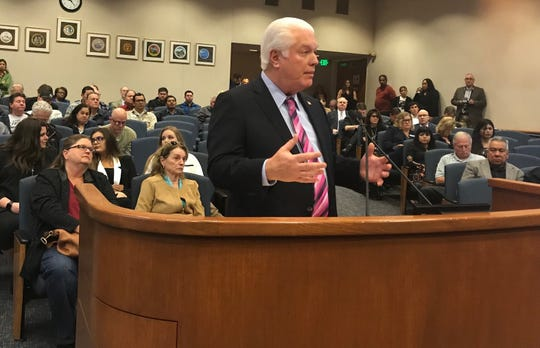 Registrar of Voters Mark Lunn speaks to the Ventura County Board of Supervisors about a new voting system.