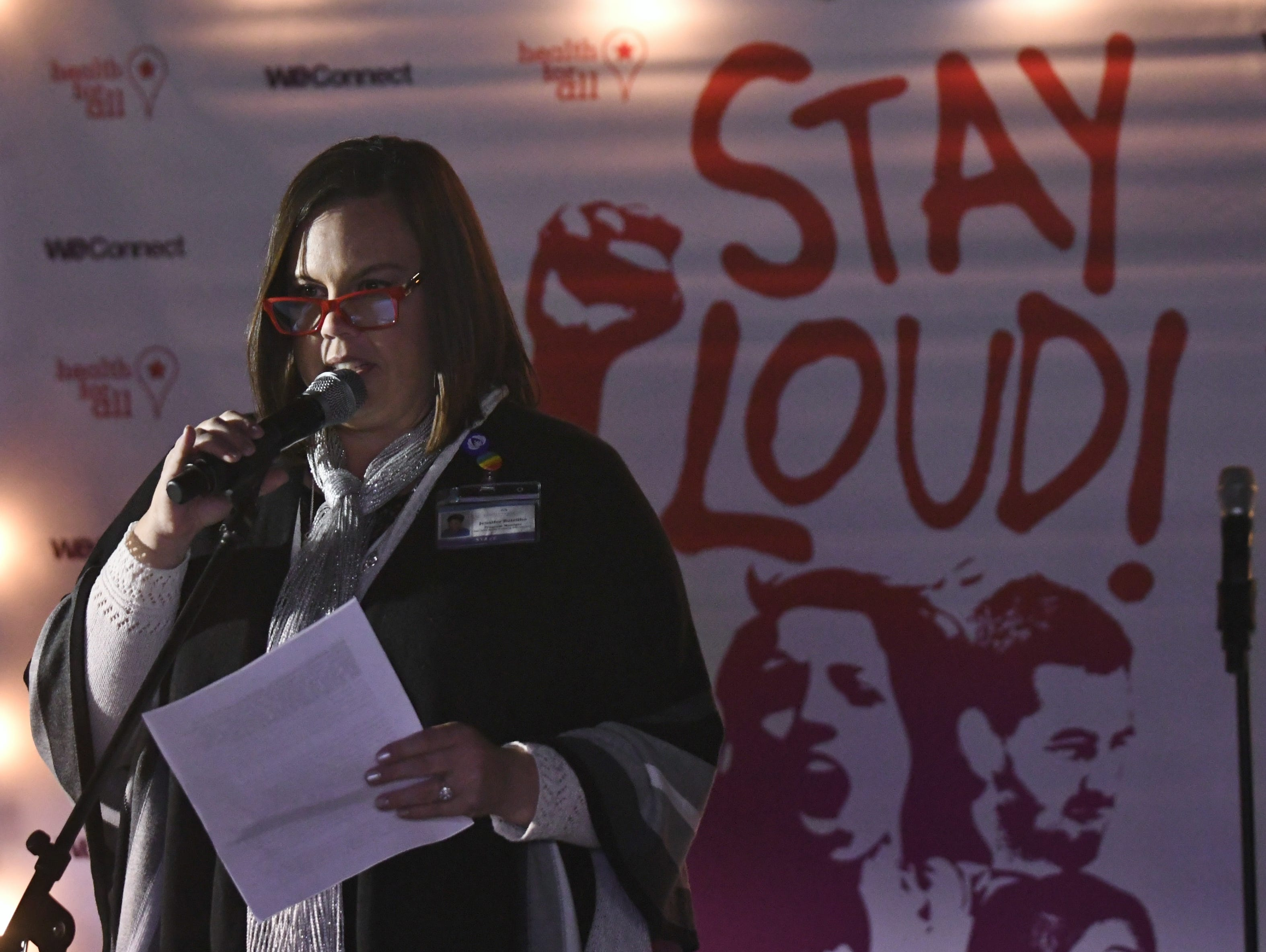 Jennifer Boteilho, of Family Services of Tulare County, shared her experience of sexual assault during Visalia's Take Back the Night on Thursday.