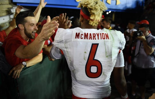 Sep 15, 2018; Pasadena, CA, USA; Fresno State Bulldogs quarterback Marcus McMaryion (6) celebrates the Bulldogs 38-14 win over theUCLA Bruins at Rose Bowl. Mandatory Credit: Robert Hanashiro-USA TODAY Sports