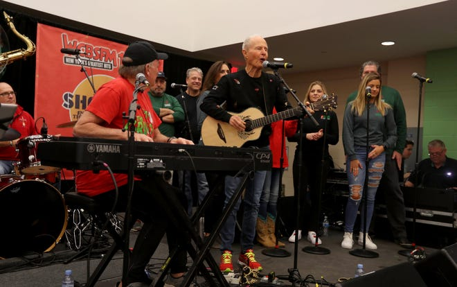 "Dr. Elmo, best known for his holiday song ""Grandma Got Run Over by a Reindeer,"" performs the song during the annual holiday show at Blythedale Children's Hospital in Valhalla, New York, on Dec. 14, 2018. Scott Shannon, morning disc jockey with WCBS-FM, hosts the show every year."