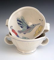 These ice cream bowls by Asta Bubliene are among the works for sale at the art and pottery bazaar through Dec. 23 at the Rockland Center for the Arts in West Nyack.