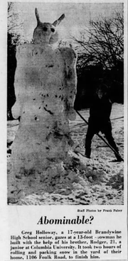 "A clipping from a 1963 edition of The Evening Journal showing an ""abominable"" snowman built on a snowy Christmas Day."