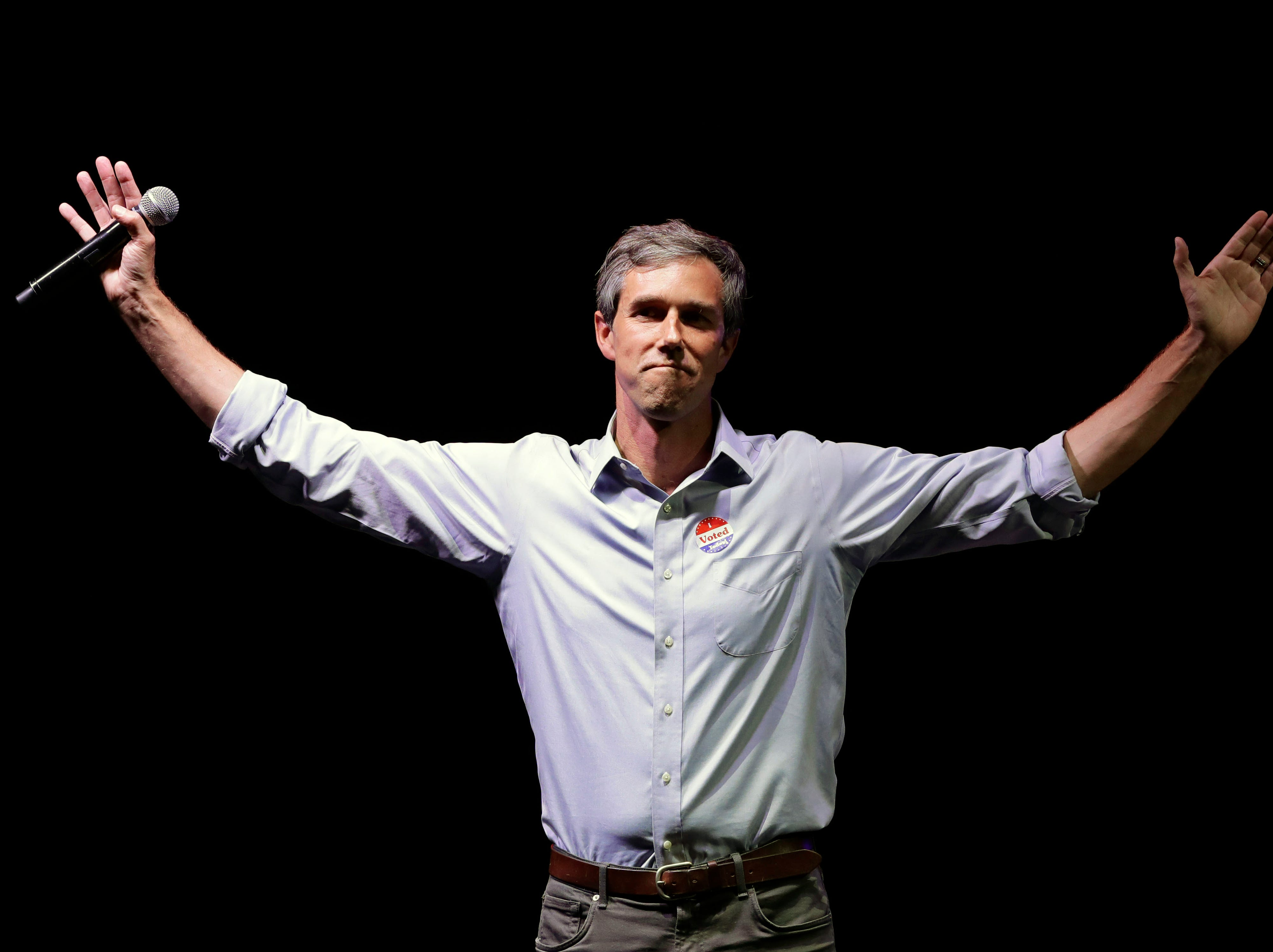 """In this Nov. 6, 2018, file photo, Rep. Beto O'Rourke, D-Texas, the 2018 Democratic candidate for U.S. Senate in Texas, makes his concession speech at his election night party in El Paso, Texas.  When it comes to a 2020 presidential run, Beto O'Rourke is still playing hard to get. The Democratic congressman murmured """"No decision. No decision on that,"""" when pressed about launching a White House bid during a town hall Friday, Dec. 14 in his native El Paso."""