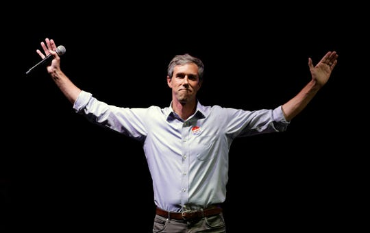 "In this Nov. 6, 2018, file photo, Rep. Beto O'Rourke, D-Texas, the 2018 Democratic candidate for U.S. Senate in Texas, makes his concession speech at his election night party in El Paso, Texas.  When it comes to a 2020 presidential run, Beto O'Rourke is still playing hard to get. The Democratic congressman murmured ""No decision. No decision on that,"" when pressed about launching a White House bid during a town hall Friday, Dec. 14 in his native El Paso."