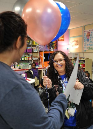 Booker T. Washington Elementary 1st grade teacher, Caili Knecht was surprised when she awarded an IDEA Grant Friday morning.