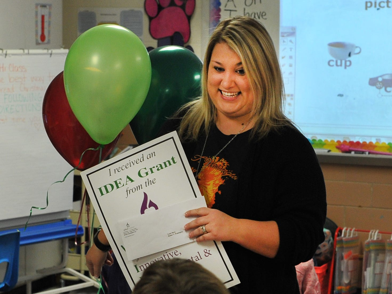 Booker T. Washington Kindergarten teacher, Lacey Davis was surprised when she awarded an IDEA Grant Friday morning.