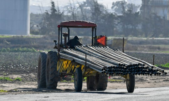 A farmworker moves irrigation pipe near Adams Brothers Farms west of Santa Maria, Calif., on Thursday, Dec. 13, 2018. U.S. health officials have traced a food poisoning outbreak from romaine lettuce to at least one farm in central California. But they cautioned Thursday that other farms are likely involved in the E. coli outbreak and consumers should continue checking the label before purchasing romaine lettuce. Officials said a water reservoir at Adams Brothers Farms in Santa Barbara County tested positive for the bacterial strain and the owners are cooperating with U.S. officials.