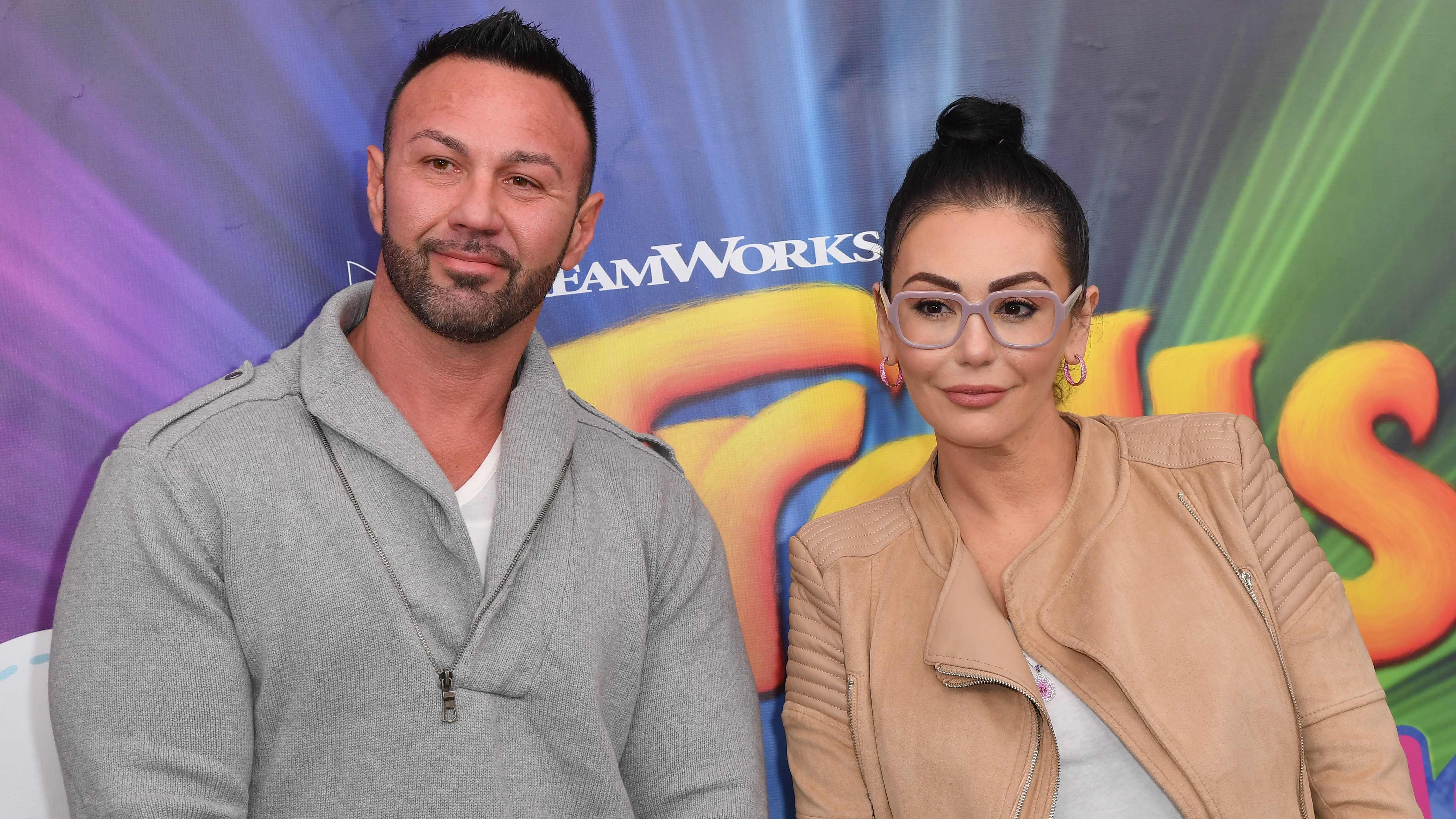 "Roger Mathews and Jenni ""JWoww' Farley attend DreamWorks Trolls The Experience on Nov. 14, 2018 in New York City."