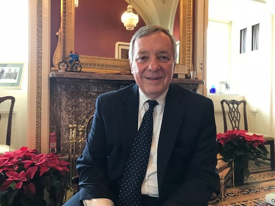 Sen. Dick Durbin, a Democrat from Illinois, talks Dec. 12, 2018, about his efforts to push for criminal justice reform. (Photo: Deborah Barfield Berry, USA TODAY)
