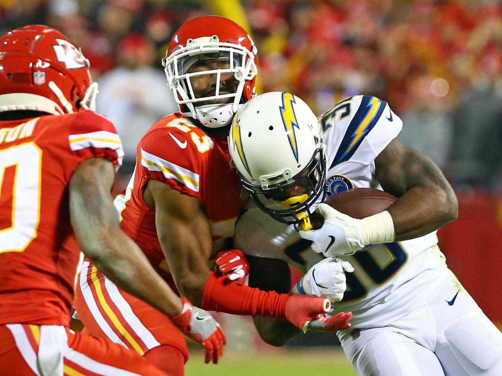Los Angeles Chargers running back Detrez Newsome runs against the Kansas City Chiefs in the first half at Arrowhead Stadium.