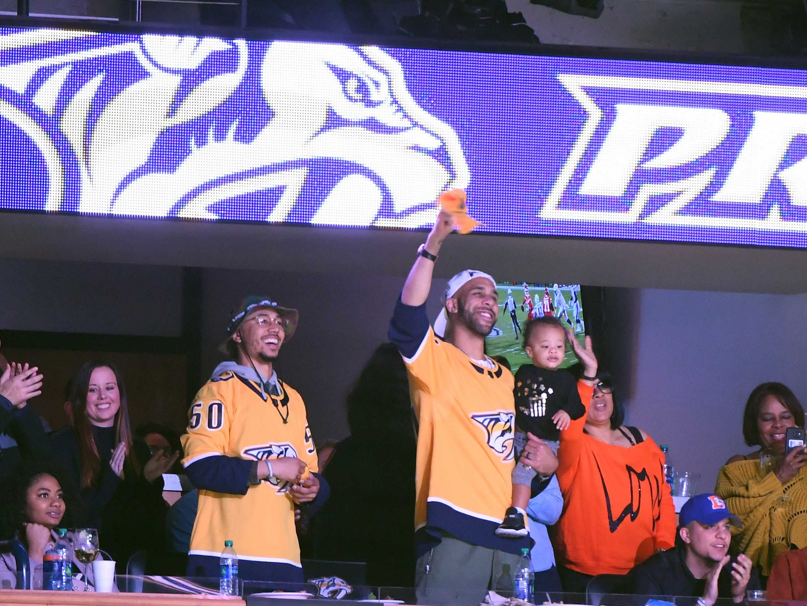 Dec. 13: Boston Red Sox players Mookie Betts (left) and David Price are recognized during the first period of the Nashville Predators game against the Vancouver Canucks.