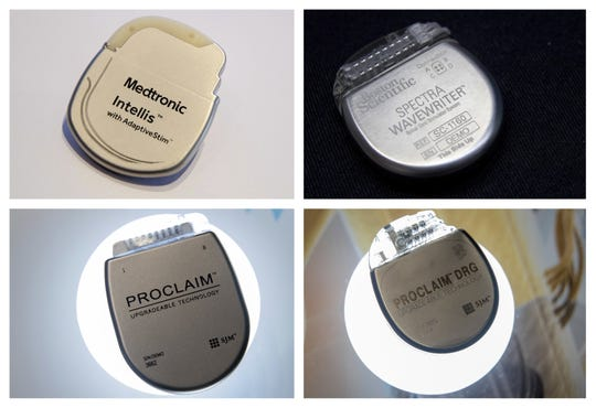 FILE - This combination of Aug. 25, 2018 photos shows demonstration models of implantable neurostimulators, top row from left, the Medtronic Intellis and the Boston Scientific Spectra WaveWriter SCS. Bottom row from left are the Abbott/St. Jude's Proclaim 7 Implantable Pulse Generator and Proclaim DRG Implantable Pulse Generator. US health officials said Monday, Nov. 26, 2018, they plan to overhaul the nationâ??s decades-old system for approving most medical devices, which has long been criticized by experts for failing to catch problems with risky implants and medical instruments. (AP Photos/Mary Altaffer, File)