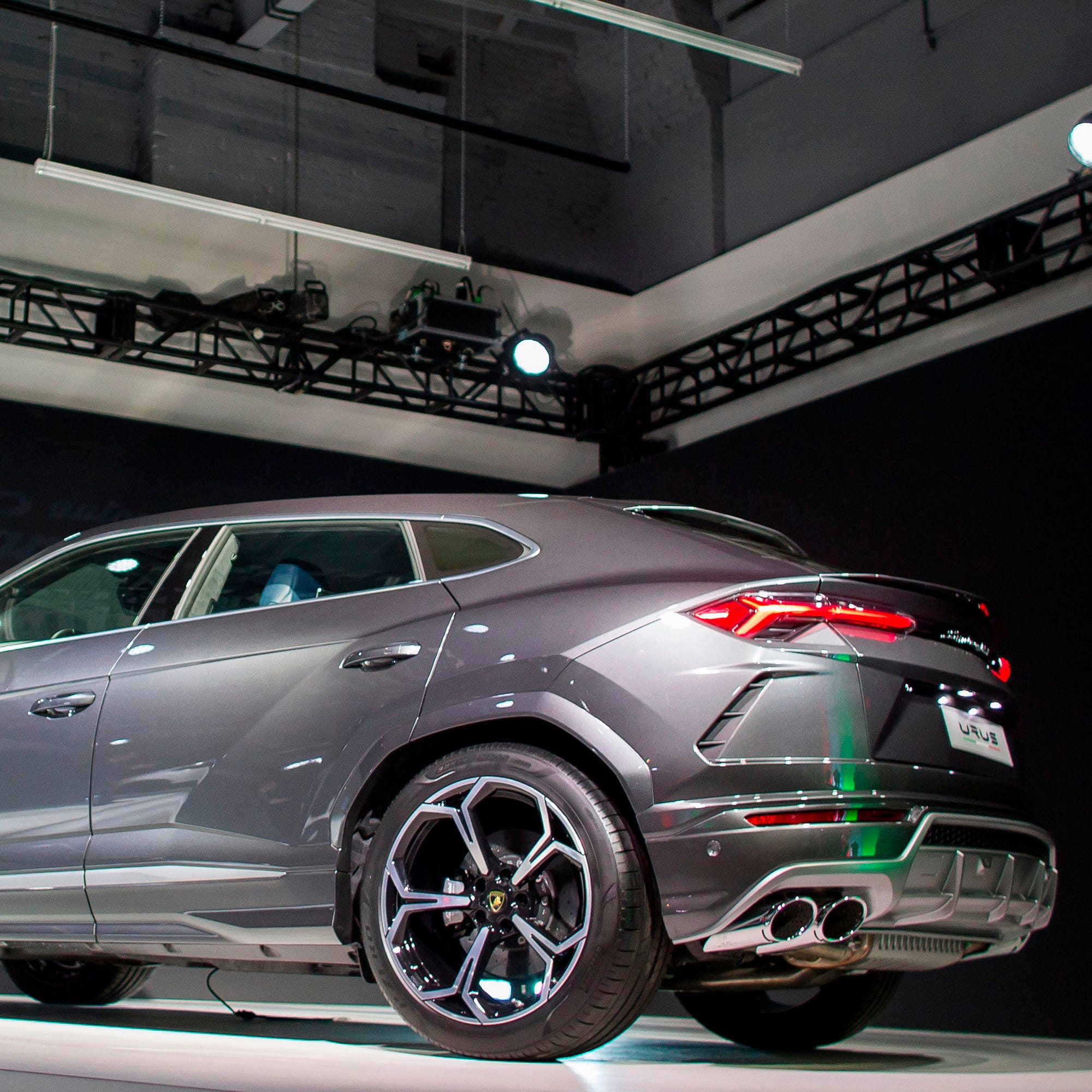 The new Lamborghini Urus SUV is unveiled Jan. 15, 2018, at a press event during the 2018 North American International Auto Show in Detroit.