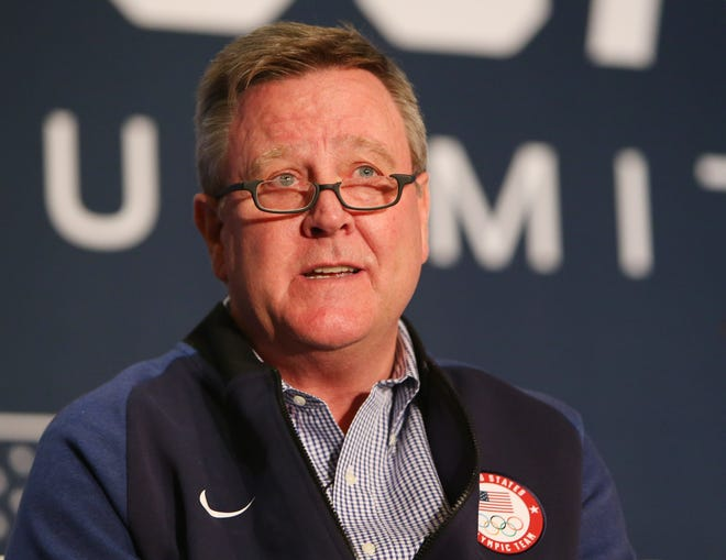 Former USOC chief executive officer Scott Blackmun during the 2018 U.S. Olympic Team media summit at the Grand Summit Hotel.