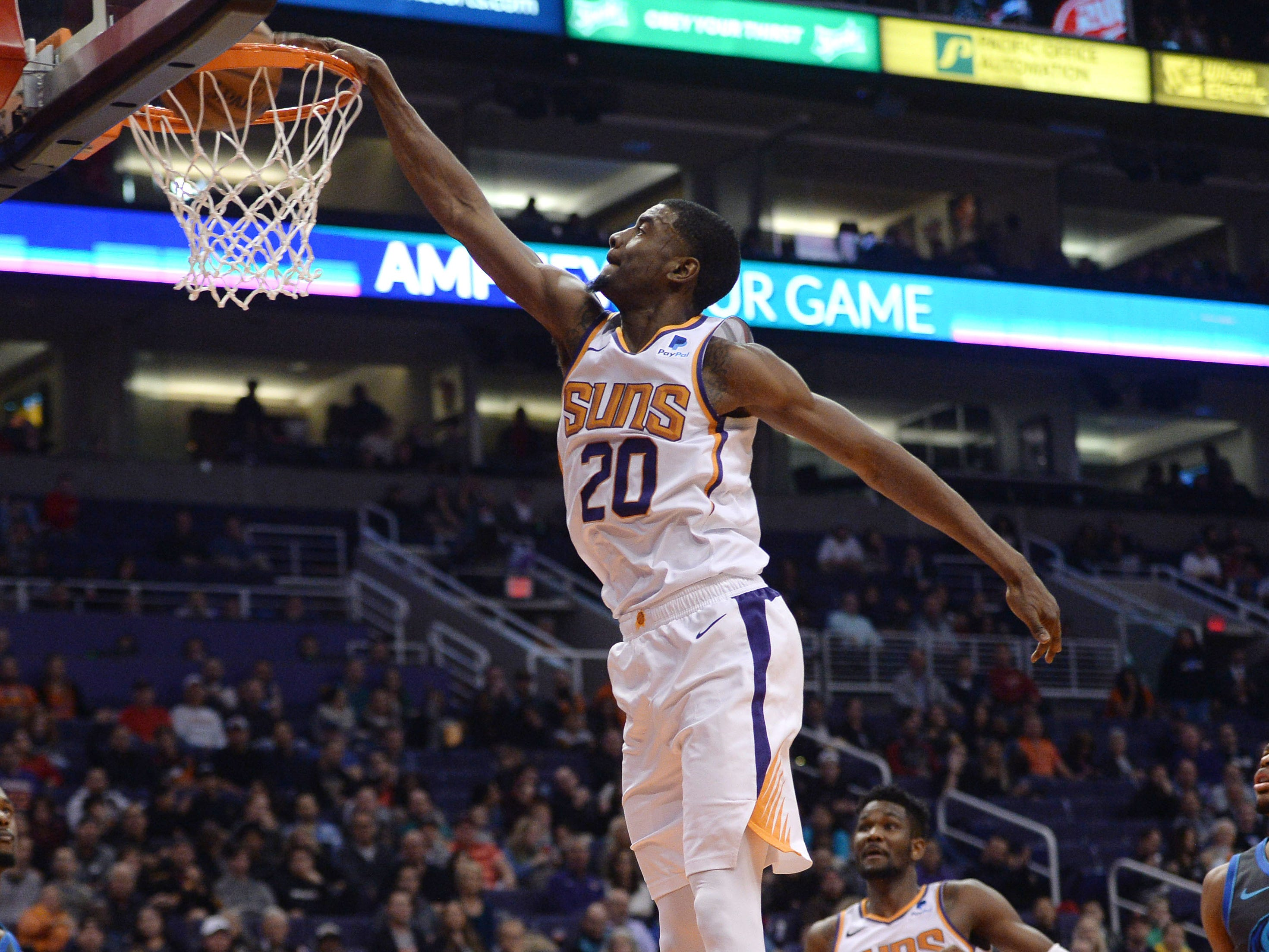 Dec. 13: Suns forward Josh Jackson throws down the one-handed flush with authority during the first half against the Mavericks in Phoenix.