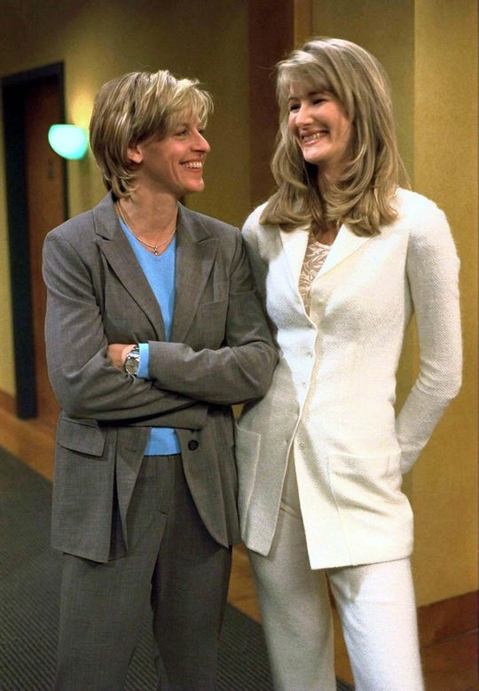 Ellen (Ellen DeGeneres, left) fell for Susan (guest star Laura Dern) in a landmark 1997 episode of the comedian's ABC sitcom.