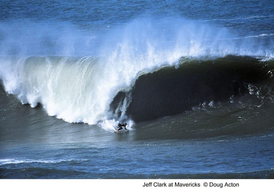 "Jeff Clark, who is credited with first surfing the giant waves at Mavericks that later become a competition for men only, is shown in this image from the 2004 documentary, ""Riding Giants."" This year, Mavericks will also host women, who will be paid the same prize money as men."