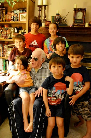 Harold Elston and the great-grandkids.
