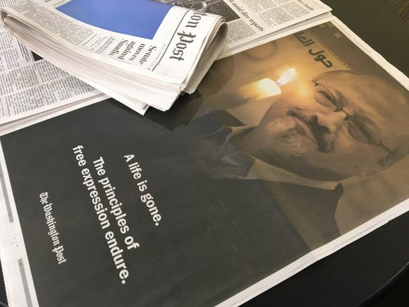This is the full page ad in the Washington  Post featuring Jamal Khashoggi.