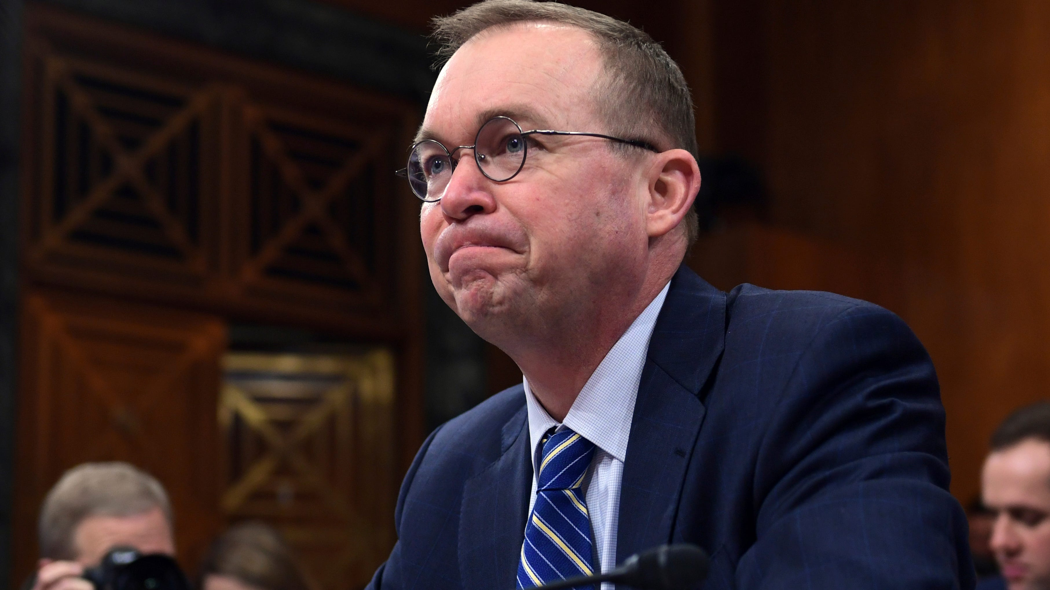 Budget Director Mick Mulvaney is pictured testifying before the Senate Budget Committee on Capitol Hill.
