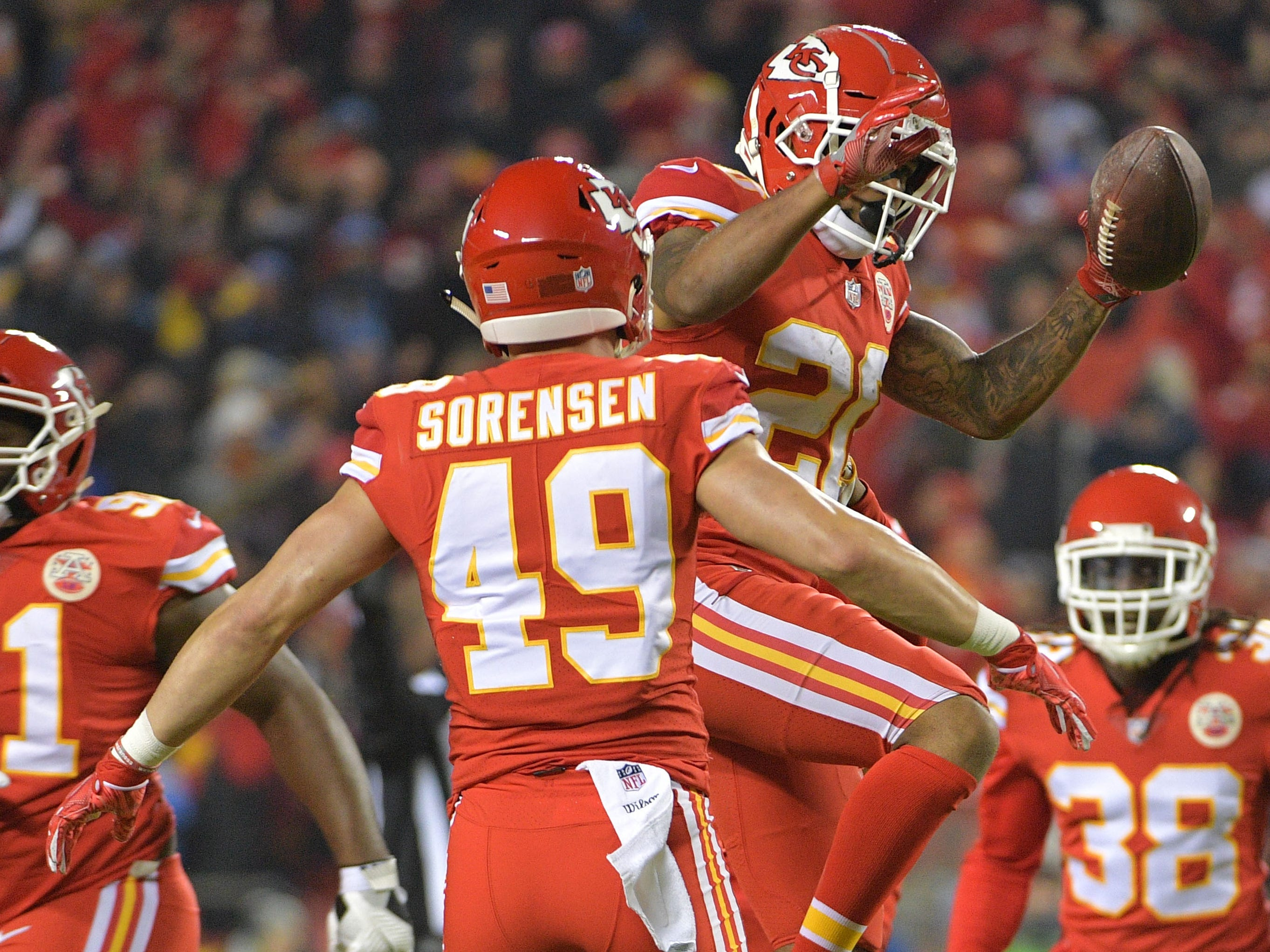 Kansas City Chiefs cornerback Steven Nelson celebrates after intercepting a pass against the Los Angeles Chargers during the first half at Arrowhead Stadium.